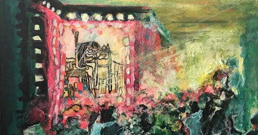 "Contemporary Abstract Art Painting, Cat Art, ""MR KITTY'S PERFORMANCE"" by California Artist Cecelia Catherine Rappaport"