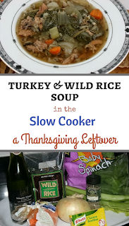 Turkey and wild rice soup made from leftover turkey. This is a crockpot slow cooker recipe.
