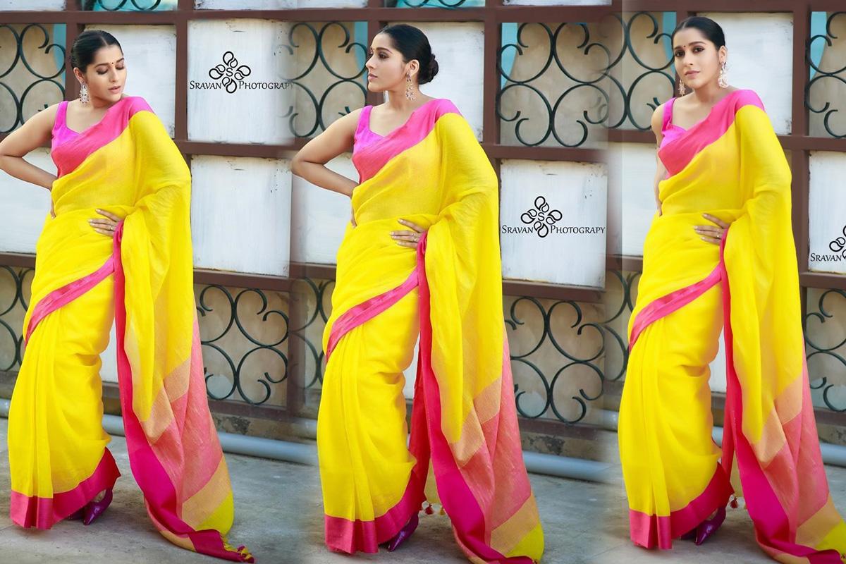 Actress Rashmi Gautam look elegant in Yellow Saree