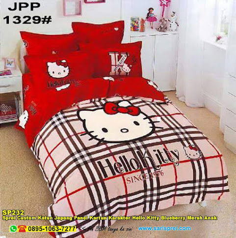 Sprei Custom Katun Jepang Panel Kartun Karakter Hello Kitty Blueberry Merah Anak