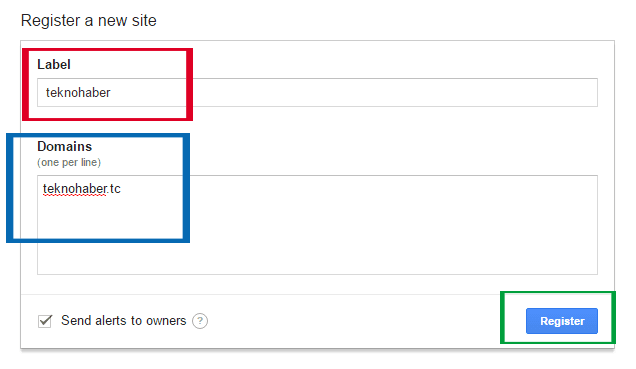 Google Recaptcha kaydı