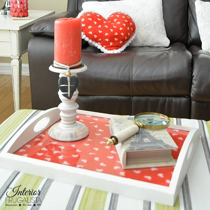 Seasonal Ottoman Tray Lined With Fabric For Valentines