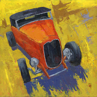 automotive painting hot rod roadster orange abstract ford