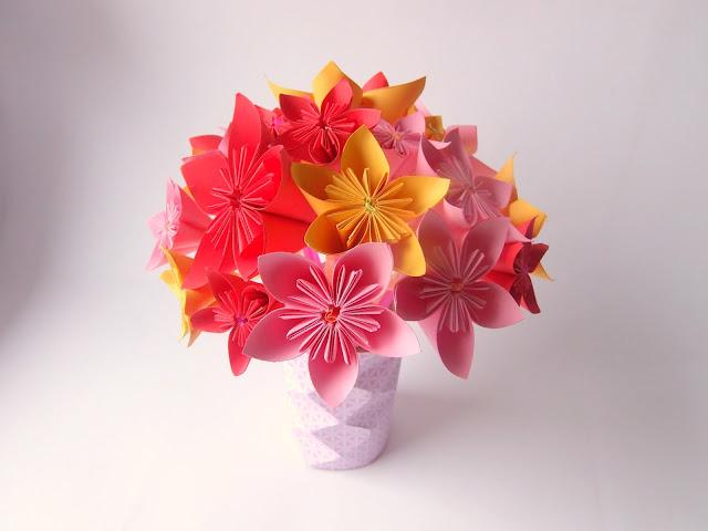 bouquet fleur origami