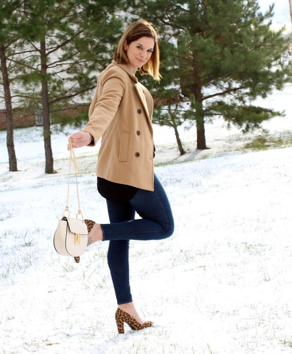 camel pea coat, leopard heels, black tunic