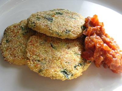 Cheese and Herb Fritters with Tomato Balsamic Jam