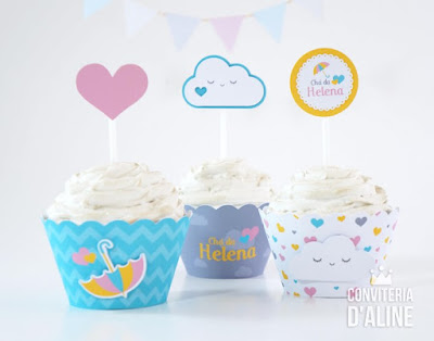 chuva amor decoracao cupcakes