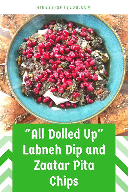 All Dolled Up Labneh Dip and Zaatar Pita Chips are a Lebanese entertaining staple. This recipe using labneh as the base and includes Zaatar Spice, Black Olives, Olive Oil, and Pomegranate Seeds.