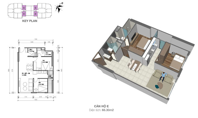 Thiết kế căn hộ E 66m2