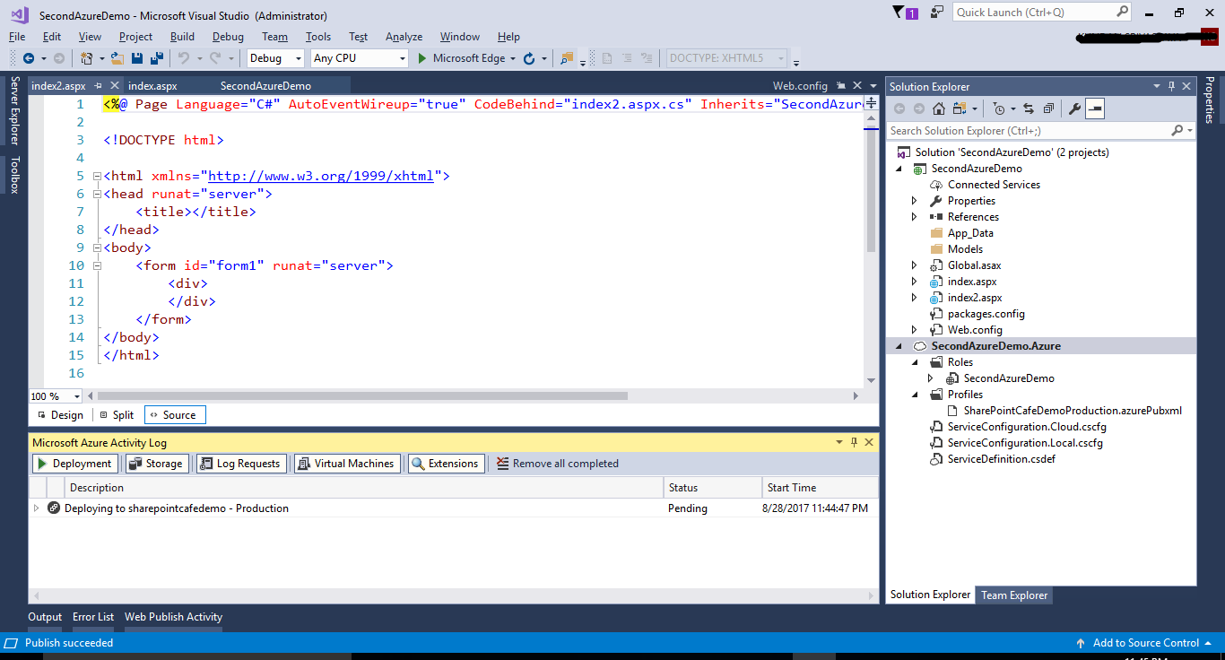 Create Azure Project in Visual Studio 2017