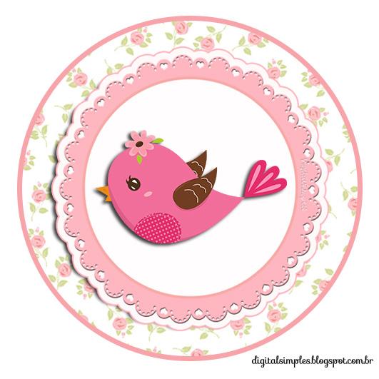 Topper para Docinhos tema passarinhos menina