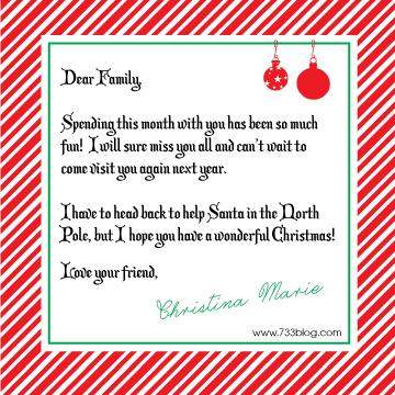 733blog.com : Elf on the Shelf Goodbye Letter