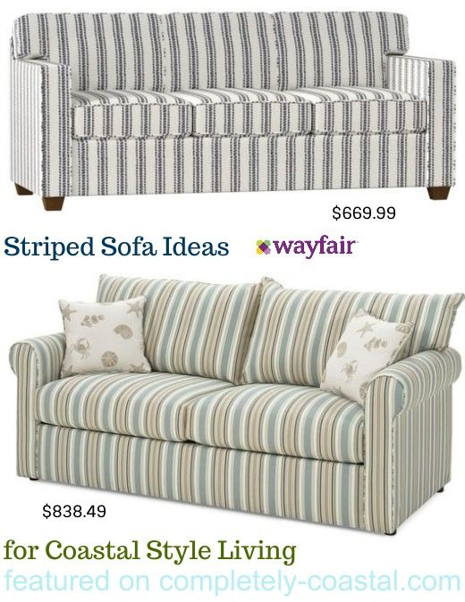 Inexpensive Coastal Stripe Sofas