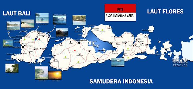 Gambar Peta Provinsi Nusa Tenggara Barat lengkap 8 Kabupaten 2 Kota