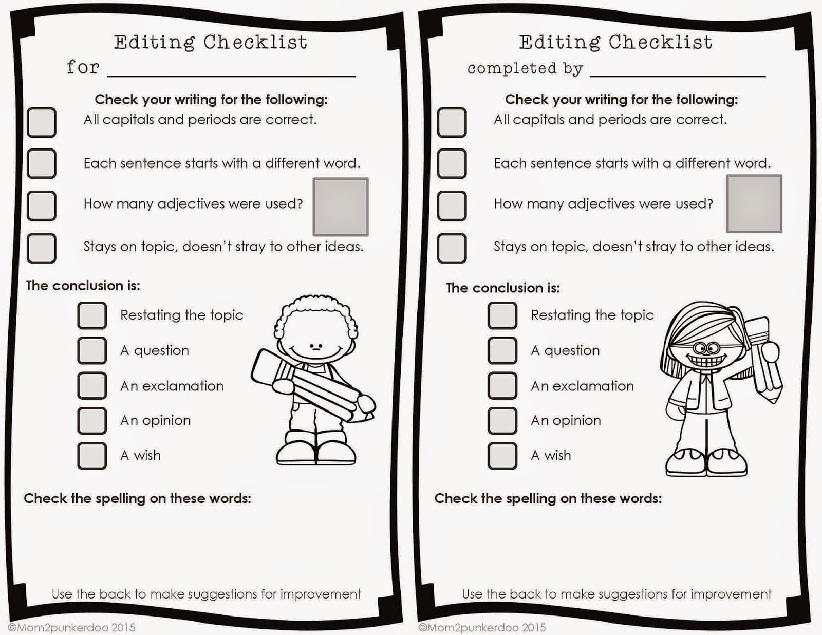 Revision Checklist For 4th Graders