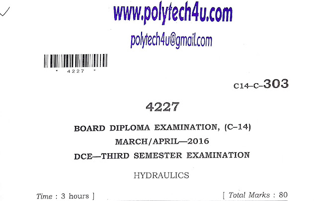 POLYTECHNIC HYDRAULICS OLD QUESTION PAPER C-14 DCE 2016