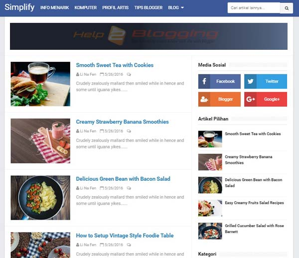 Simplify 2 Blogger Template Free Download, Responsive design for friendly mobile view  Personal, Technology, Fashion blog design  Blue color  List style  SEO friendly  Build on HTML5 - CSS3  Page Navigation Menu  Fixed widget in the sidebar  Simple  Blue, white color  Ads Ready  2 Columns full page  Right Sidebar  Social bookmark ready  SEO Ready  Post Thumbnails  Drop Down Menu