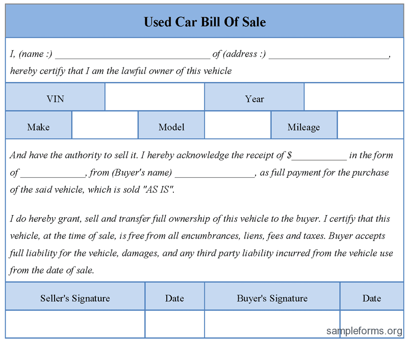 used car pictures: Used Car Bill Sale Form Sample Sample