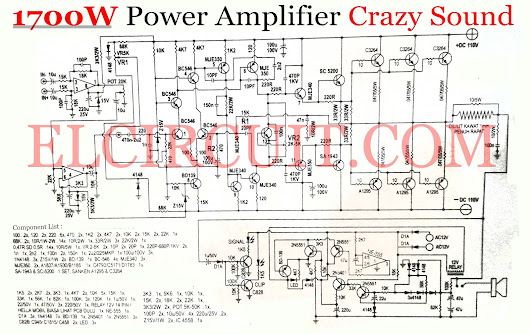 Crazy Sound 1700W Power Amplifier Circuit  - Electronic Circuit
