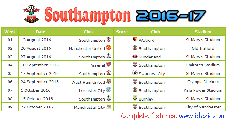 Download Jadwal Southampton FC 2016-2017 File JPG - Download Kalender Lengkap Pertandingan Southampton FC 2016-2017 File JPG - Download Southampton FC Schedule Full Fixture File JPG - Schedule with Score Coloumn