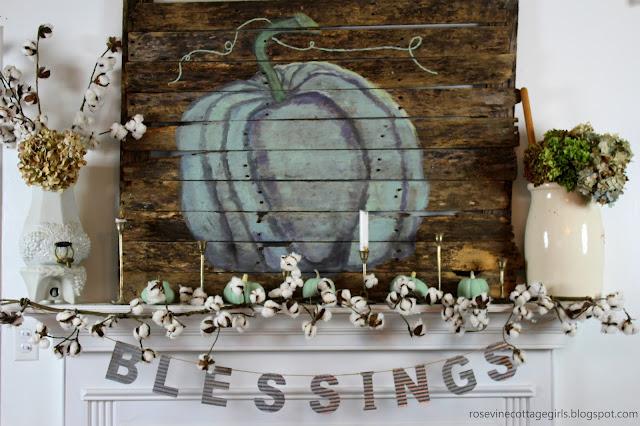 Cotton garland, galvanized banner, pumpkins, pallet art fall mantel