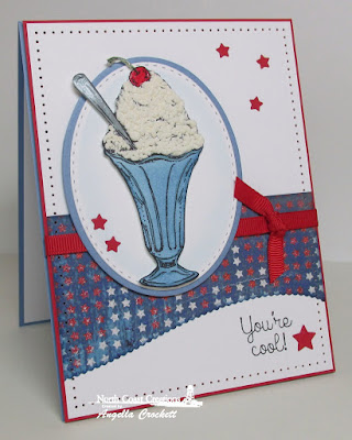 NCC Ice Creame Shoppe, NCC Ice Cream, ODBD Patriotic Paper Collection, ODBD Custom Sparkling Stars Dies, ODBD Custom Ovals Dies, ODBD Custom Stitched Ovals Dies, ODBD Custom Leafy Edged Border Dies, Card Designer Angie Crockett