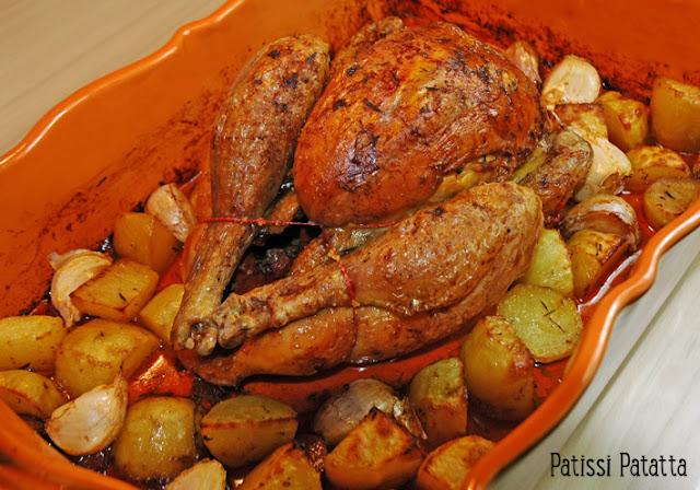 Recette de poulet au chorizo, poulet rôti au chorizo, poulet rôti et ail en chemise, roast chicken, cuisiner du chorizo, poulet et chorizo,