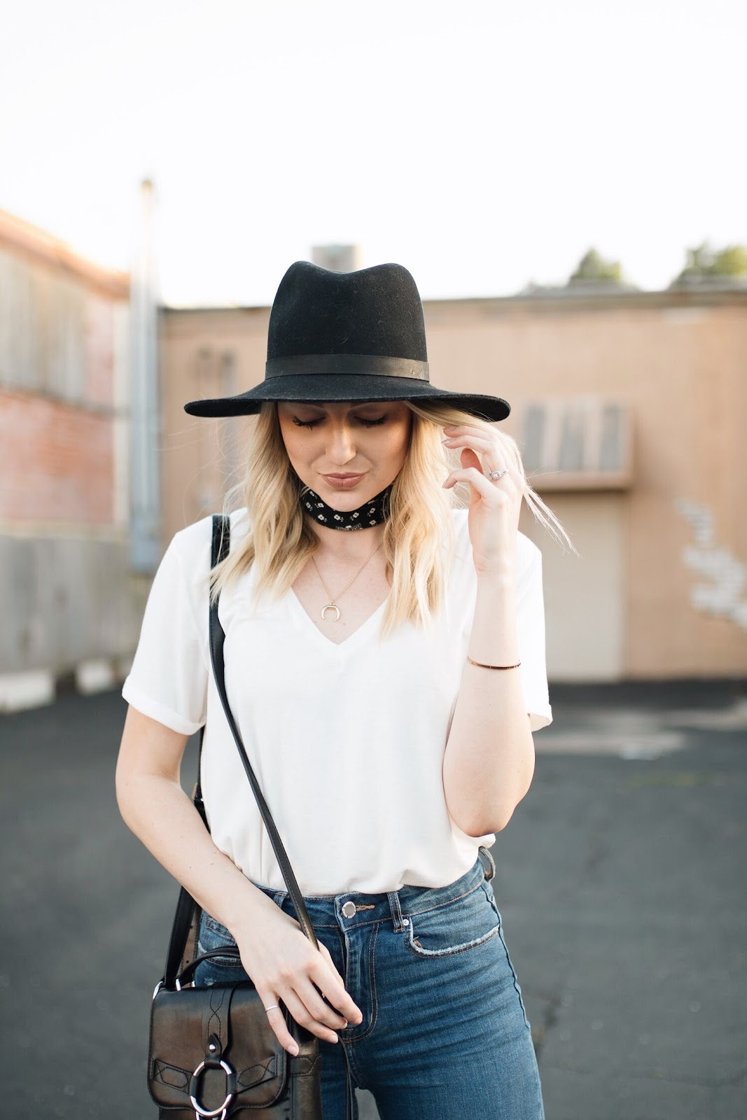 White t-shirt with a bandana scarf + wool hat