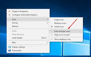 Mengatur icon di desktop