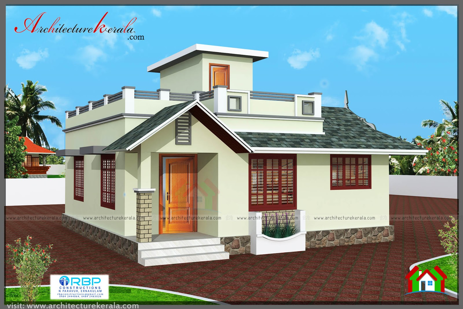 2 bedroom house plan and elevation in 700 sqft for Two bedroom home plans