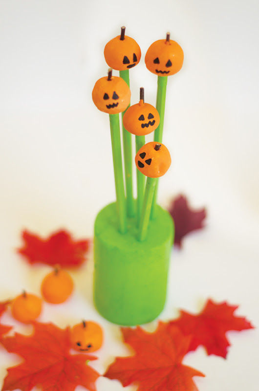 Pumpkin Patch Clay Pencil Toppers with Holders