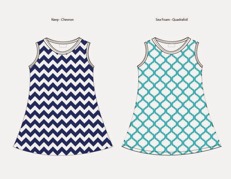 Image of Navy Chevron - Sea Foam Quatrefoil Dresses