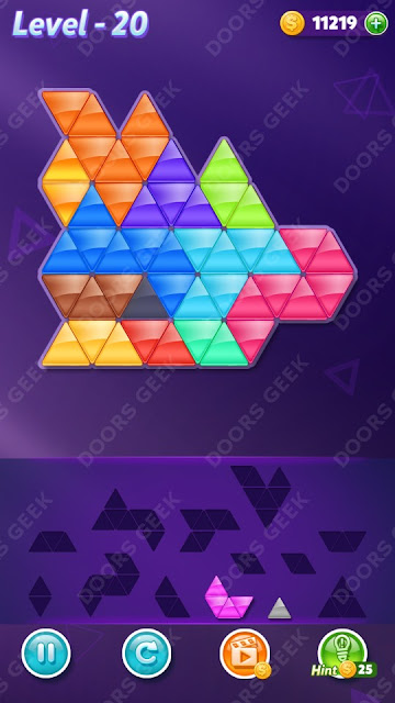 Block! Triangle Puzzle 12 Mania Level 20 Solution, Cheats, Walkthrough for Android, iPhone, iPad and iPod