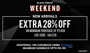 Jabong Black Friday Offer: Extra 28% Off + Extra 15% Cashback with Oxigen Wallet
