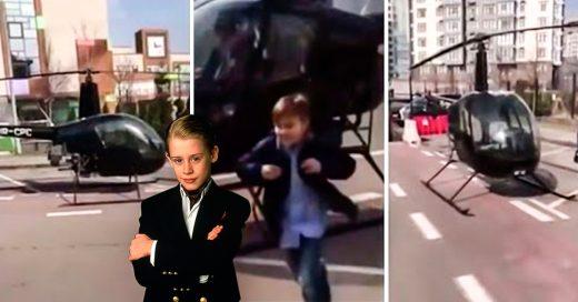Niño llega en helicóptero a la escuela por esta razón
