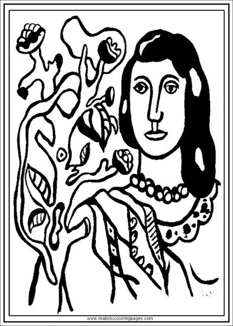 woman and flower fernand Leger adults coloring pages