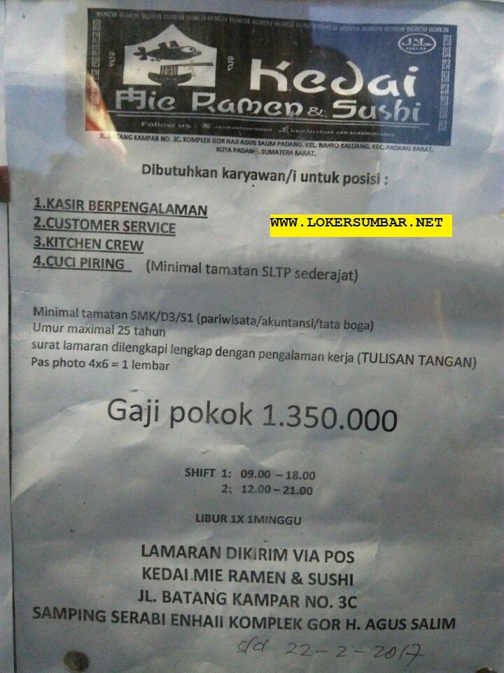 Lowongan Kerja di Padang – Mie Ramen & Sushi – 4 Posisi (Penutupan 22 Feb.2017)
