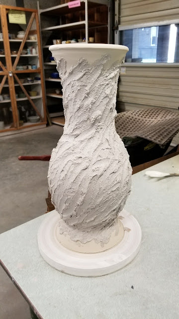 Ceramic textured vase in progress, handmade pottery by Lily L.