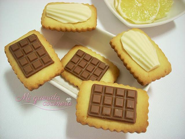 Chocolatinas en galletas de limón