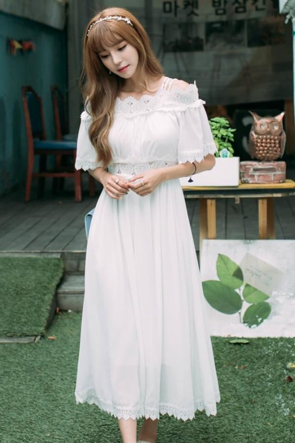 MAXI DRESS IMPORT - LONG DRESS IMPORT PUTIH - LACE LONG DRESS