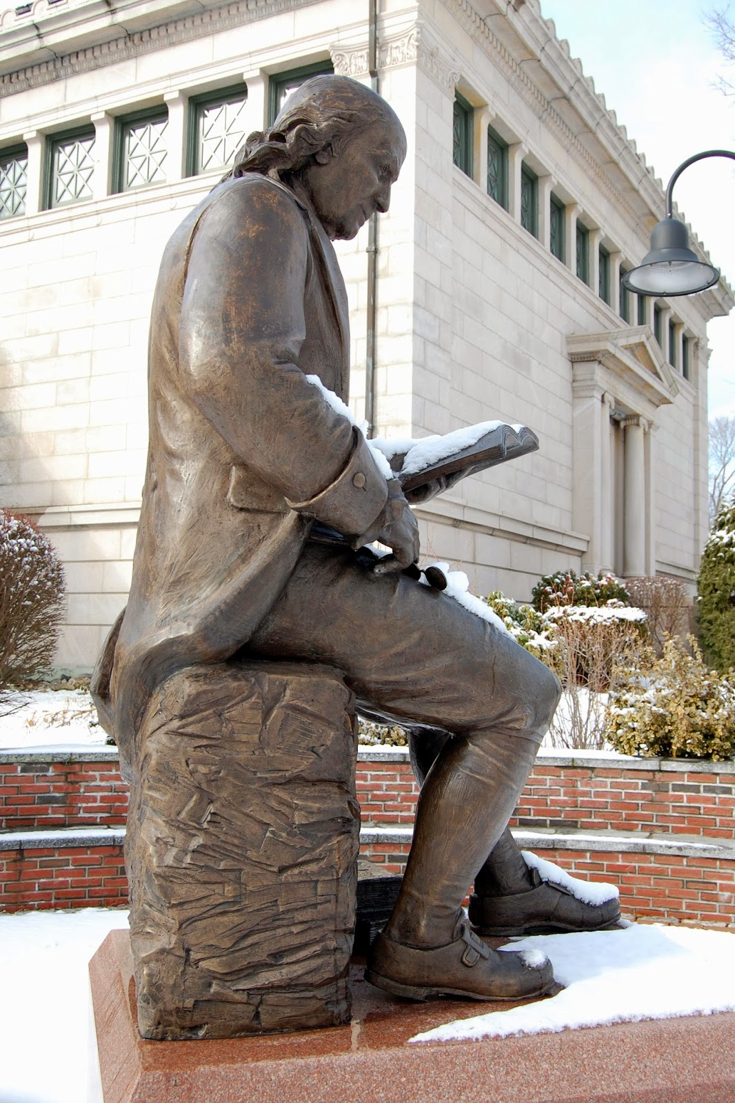 Benjamin Franklin statue outside Franklin Public Library