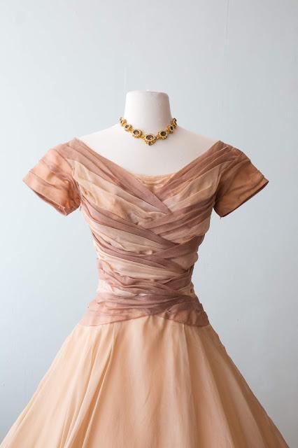 e701230e0a9 Stunning early 1950 s New Look era silk chiffon polka dot dress by Adele  Simpson .