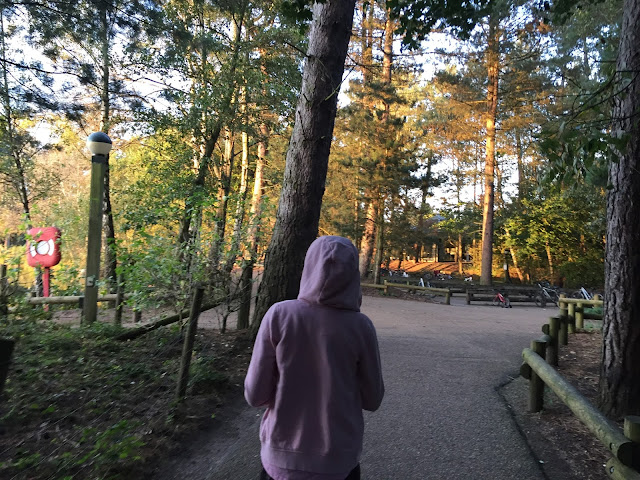 back view of Sasha as she walks through forest