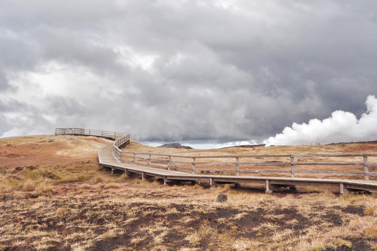 Paysage volcanique islandais - Gunnuhver, près de la source chaude