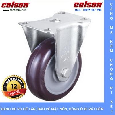 Bánh xe đẩy PU càng cố định phi 75 chịu tải trọng 82kg | S2-3058-95P www.banhxedayhang.net