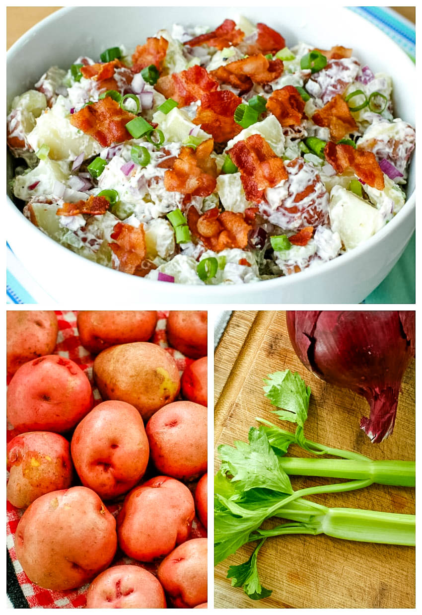 Red Potato Salad with Bacon is made with a cool and creamy mayo-sour cream mixture and tons of crumbled bacon. This simple side dish is perfect for barbecues, parties, and tailgating! #potatosalad #sidedish #bacon
