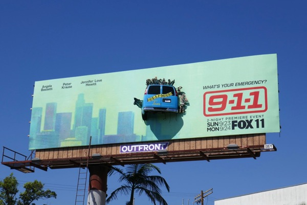 911 crashed tour bus season 2 billboard installation