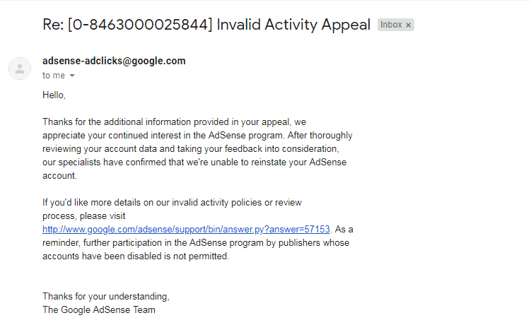 Google Adsense - appeal rejected
