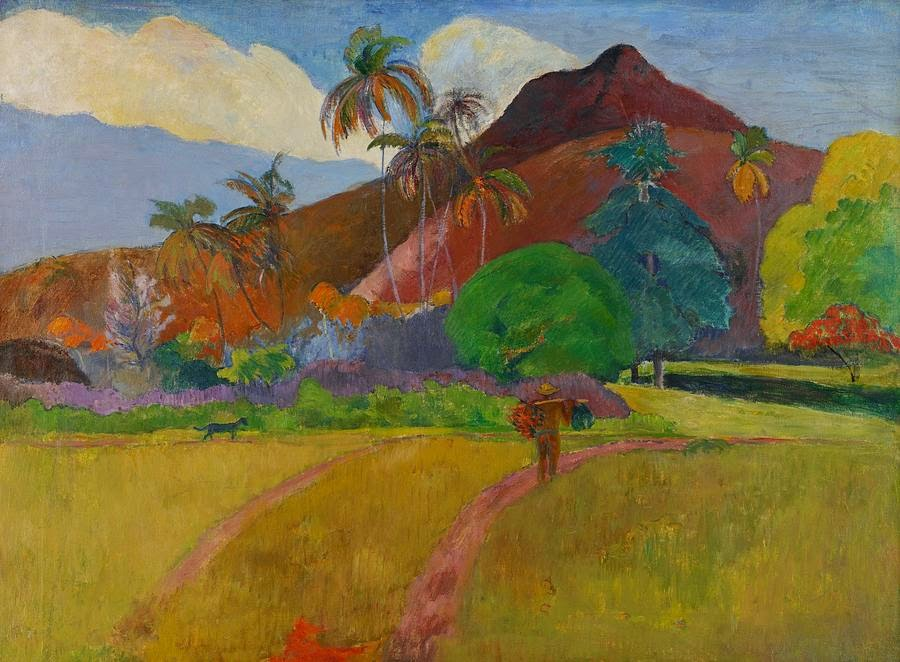 Paesaggio tahitiano con montagna