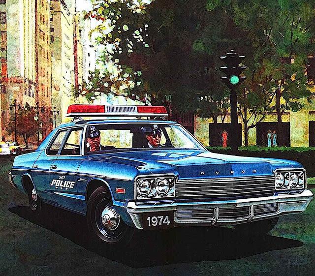 a 1974 Dodge police car color illustration